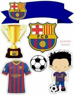 Toppers do Barcelona Bolo Do Barcelona, Barcelona Soccer Party, Barcelona Futbol Club, Barcelona Football, Soccer Birthday Cakes, Soccer Cake, Soccer Birthday Parties, Football Birthday, Bolo Real Madrid