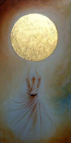 """Your thoughts are a veil on the face of the Moon. That Moon is your heart, and those thoughts cover your heart. So let them go, just let them fall into the water. —Rumi -art 'Dervish' oil on canvas by Gülcan Karadağ Islamic Calligraphy, Calligraphy Art, Ideas Dormitorios, Whirling Dervish, Turkish Art, Step By Step Painting, Foto Art, Watercolor Landscape, Watercolor Water"
