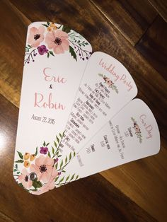 Wedding Program Fans, Petal Fan Programs, Fan Programs - Shabby Chic Floral