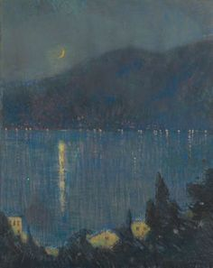 Charles Warren Eaton Nocturne, Lake Como, 1910-20 (Pastel on paper mounted on canvas, 30 x 24 inches) Spanierman Gallery, NYC