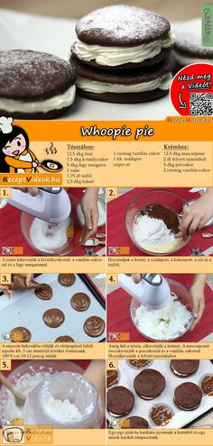 Whoopie pie How about a sweet Whoopie pie for the weekend? The Whoopie Pie Recipe video is easy to find using the QR code :] # Biscuits Dessert Drinks, Pie Dessert, Eat Dessert First, Cookie Recipes, Dessert Recipes, Hungarian Recipes, Whoopie Pies, Sweet Cakes, Other Recipes