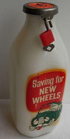 Vintage Milk Bottle Bank 1960s by Christian Montone, via Flickr