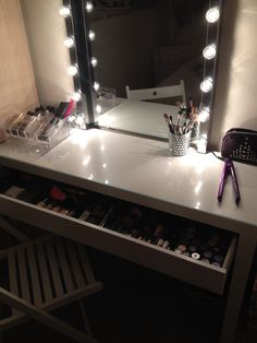 Vanity Lights Plug In: DIY vanity area / makeup station: Using parts mostly from ikea. Malm  dressing table musik lights fitted to a plug kolja mirror godmorgon make up  storage,Lighting