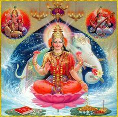 Shri Lakshmi Devi, Saraswati Devi, Ganesh Ji ॐ Saraswati Goddess, Indian Goddess, Goddess Lakshmi, Durga Maa, Shiva Art, Shiva Shakti, Hindu Art, Saraswati Picture, Navratri Puja
