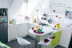 cocina color negro y madera retro metal industrial Ma New D/éco estilo Tolix vintage Juego de 4 sillas de Bistrot