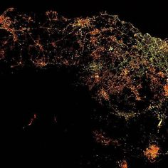 """explorenasa Next Saturday is Earth Day and to celebrate we will be taking a week long view at Earth from the unique vantage point of space.  The Expedition 50 crew aboard the International Space Station had a nighttime view from orbit of Europe's most active volcano, Mount Etna, erupting on March 19, 2017. Astronaut Thomas Pesquet of the European Space Agency captured this image and shared it with his social media followers, writing, """"Mount Etna, in Sicily. The volcano is currently erupting…"""
