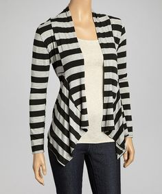 Take a look at this Black & Gray Stripe Tapered Open Cardigan by Chris & Carol on #zulily today!