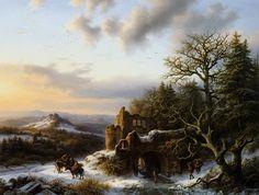 Barend Cornelis Koekkoek - Winterlandschap met ruine