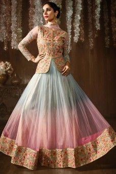 Blue and Pink Net Fabric Heavy Embroidered Shaded Party wear Anarkali  ethnicwear #designer #indian #partywear #traditional #casualwear #festivwear #anarkali #sarees #lehenga #churidarsuit #patialasuit #embroidered #straightcutsuit #gebastore #pakistanisuit #indiandesigner #Canada #lehengacholi #salwarkammez #bollywooddesignersuits #dresses #HeavyEmbroideredpartywear