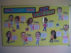 "Meet Your New Teachers. everydayramny: "" I made a bulletin board — with head-bobbling action! """