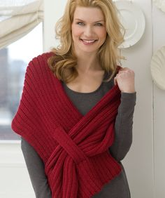 Ribbed Slit Shawl from Red Heart.   I need to make this one for me for work as a/c Always too cold.