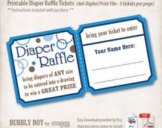 Diaper Raffle Tickets Printable Chevron By Prettyprintedpaper