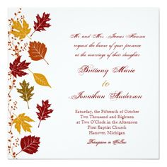 Shop Rustic Leaves Autumn Fall Wedding Invitations created by CountryWeddings. Personalize it with photos & text or purchase as is! Wedding Invitations Online, Country Wedding Invitations, Rustic Invitations, Wedding Invitation Wording, Invitation Cards, Invitation Ideas, Wedding Stationary, Country Wedding Cakes, Country Style Wedding