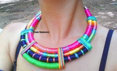 PSY Necklace Colorful Necklace Maasai by UtopiaManufactory on Etsy
