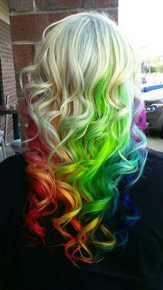 Crazy hair color rainbow hair hair styles, rainbow hair и hair. Hair Dye Colors, Cool Hair Color, Rainbow Hair Colors, Funky Hair Colors, Colorful Hair, Color Fantasia, Colored Hair Extensions, Coloured Hair, Unicorn Hair