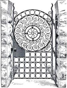 Public Domain Iron Gate Image - Harry Potter-esque - The Graphics Fairy