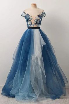 Gorgeous Scoop Dark Navy Floral Evening Dresses Chic Applique A Line Prom Dresses Tiere and Ruffle Tulle Boho Evening Gowns for Formal Party Blue Ball Gowns, Ball Gowns Prom, A Line Prom Dresses, Tulle Prom Dress, Cheap Prom Dresses, Homecoming Dresses, Blue Gown, Sexy Dresses, Blue Dresses
