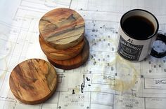 Spalted Pecan Wood Coasters by FatBison