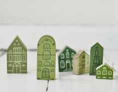 SET of 6 pcs - GREEN hand painted wooden village, miniature village, hand painted house, wood block, little wooden house, decorative house