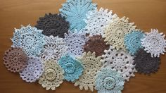 Set of hand dyed vintage crochet doilies! Small craft sizes- 2.5 to 4 inch size