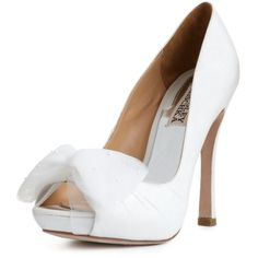 Badgley Mischka Shoes, Zali Pumps ($225) ❤ liked on Polyvore featuring shoes, pumps, heels, wedding, evening shoes, bow shoes, heels & pumps, peeptoe pumps and high heel peep toe pumps