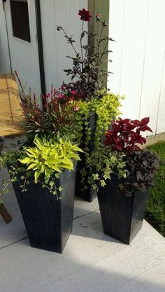 How To Build Your Own Tall Outdoor Planter Boxes - Planters - Ideas of Planters - Our current outdoor patios can truly use lots of huge planter pots outside but they can increase happening to thousands of dollars appropriately quickly! Tall Outdoor Planters, Outdoor Flowers, Garden Planters, Planter Pots, Outdoor Potted Plants, Planters For Front Porch, Potted Plants Patio, Outside Planters, Potted Flowers