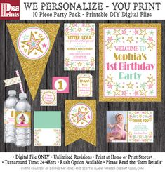 Twinkle Twinkle Little Star Birthday Invitation and Party Decorations - 10 Printable Digital Files by PuggyPrints