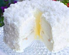 Lychee Coconut Angel Cake This cake is so light, each slice has to be cut gently with a serrated knife, as any other kind of knife will compress and ruin its delicate structure. On first bite you will first notice how light and airy-soft it is. Then comes the joy of munching on juicy pieces of firm-fleshed lychees enveloped in almond-scented cream, its aromatic sweetness perfectly complemented by the slightly salty and almost nutty flavour of the shredded coconut.
