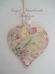 Vintage Inspired Handmade wooden decorative hanging heart keepsake with button embellishment.. £3.99, via Etsy.