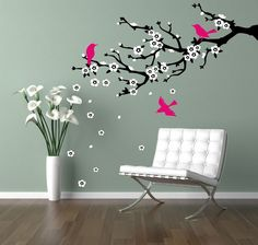 Wall decal branch Cherry blossom branch Flowering by CherryWalls, $39.00