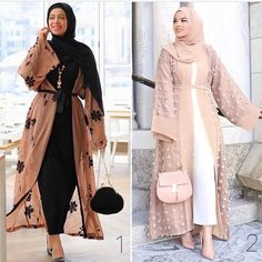 If you are looking for a particularly glamorous look, you should buy a chiffon open abaya cardigan. Open abaya cardigan is a perfect fit for evening occasions Modest Fashion Hijab, Modern Hijab Fashion, Hijab Fashion Inspiration, Abaya Fashion, African Fashion Dresses, Muslim Fashion, Eid Outfits, Fashion Outfits, Floral Dress Outfits