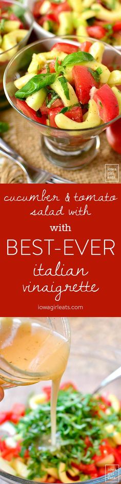 Cucumber and Tomato Salad with BEST-EVER Italian Vinaigrette is garden-fresh and the perfect side dish for summer! | iowagirleats.com
