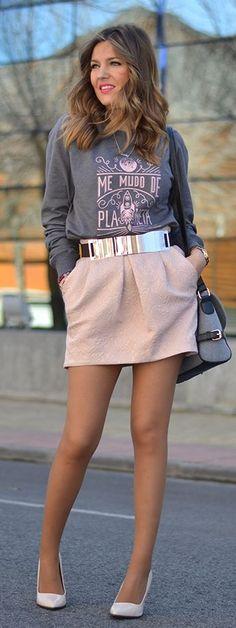 Light Pink Rose Jacquard Mini Skirt. By Mi Aventura Con La Moda