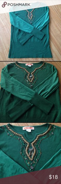 Beautiful green top Worn once no stains or other damage.100% Polyester.The shirt is a P fits perfect XSmall Sanzhou Tops