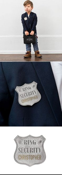Ring bearer Gift Idea - Let everyone know your ring bearer is in charge and keeping the bride and groom's rings safe during the wedding ceremony. This personalized secret agent case and ring security badge is the perfect ring bearer proposal gift. Security Badge, Ring Security, Wedding Ceremony Decorations, Wedding Decor, Wedding Ideas, Ring Bearer Gifts, Groom Ring, Beard Lover, Personalized Rings