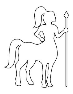 Centaur pattern. Use the printable outline for crafts, creating stencils, scrapbooking, and more. Free PDF template to download and print at http://patternuniverse.com/download/centaur-pattern/