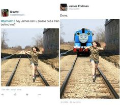 We all know that Photoshop can be used to make any picture pretty much anything that you want, like erasing wrinkles or putting a hilarious cat on a motorcycle. But if you're not proficient in the practice and still want to make your pictures a bit better, have no fear, as Photoshop wizard James Fridman will accept your request via Facebook and Twitter and do exactly what you ask for — literally. VERY literally, as you'll see in these LOL funny pictures!
