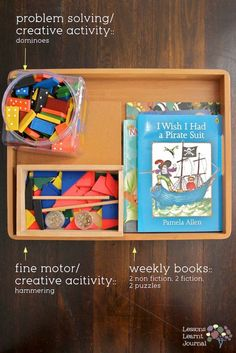 Play kit for quiet time - with dominoes (math), hammering (pre-literacy fine motor skills) and books. Quick and easy way to work and play with kids quietly. Great for some down time. Quiet Time Activities, Creative Activities, Craft Activities For Kids, Learning Activities, Toddler Activities, Crafts For Kids, Preschool Projects, Toddler Play, Creative Play
