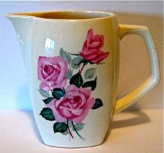 Bill ✔️ The design is Fashion Rose Pat. Crown Lynn shape ( later known as which measures High and cups or Ppcv Ceramic Jugs, Vintage Crockery, Carlton Ware, Kiwiana, Powdered Milk, Folk Art, Art Pieces, Cups, Porcelain
