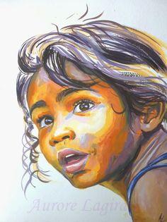 Portrait peinture, petite fille de Wallis et Futuna