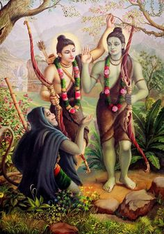 Hanuman meeting Rama and Lakshmana, painting by Satchitananda Das