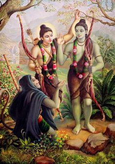 Hanuman meeting Rama and Lakshmana, painting by Satchitananda Das