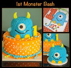1st Monster Bash, cakes to match birthday boy's shirt... look it says Jax ! @Cristina Florenzino