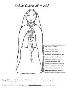 Catholic Saints and All Saint's Day Coloring Pages are to give thanks for all of God's saints. Celebrate the holiday with these Catholic Saints and All Saint's Day Coloring Pages. Catholic Religious Education, Catholic Kids, Catholic Saints, Clare Of Assisi, St Clare's, Holiday Crafts For Kids, Kids Crafts, All Saints Day, Coloring Pages