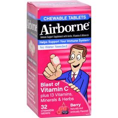 Airborne Chewable Tablets with Vitamin C - Berry - 32 Tablets - Convenient, Airborne chewable tablets with vitamin C are perfect for people on the go Contains 13 vitamins, minerals, and herbs to provide real immune support Available in delicious berry and citrus flavors Airborne Chewables deliver real immune support in a convenient chewable tablet. A unique combination of 14 vitamins, minerals, and herbs, this powerful formula is trusted by many people. Great-tasting, easy-to-chew tablets…