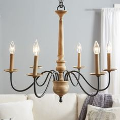 Found it at Wayfair - Edson 6 Light Candle-Style Chandelier Farmhouse Dining Room Lighting, Farmhouse Light Fixtures, Farmhouse Chandelier, Candle Chandelier, 5 Light Chandelier, Candle Sconces, Kitchen Lighting, Wood And Metal Chandelier, Wheel Chandelier