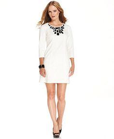 Vince Camuto Dress, Three-Quarter-Sleeve Jewel Shift - Dresses - Women - Macy's