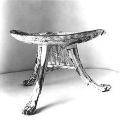 """Carter No.: 412. Three-legged stool (wood, painted white). Max. W. 43.0; Min. 29.0; Max. H. 29.0, cents. Burton photograph: p1670"" link to ^**^ tomasz 'orion' wróblewski ^**^"