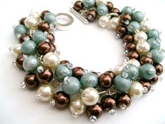 Chocolate Duckegg Blue and Ivory Pearl Beaded Bracelet