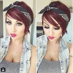 10 Chic and Showy Red Pixie Hairstyles: #1. Red Pixie Cut with Headband Bandana Hairstyles Short, Pixie Hairstyles, Headband Hairstyles, Short Hair Bandana, Pixie Headband, Fashion Hairstyles, Chic Hairstyles, Red Pixie Cuts, Short Hair Cuts